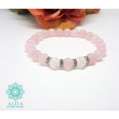 Rózsakvarc ásvány karkötő